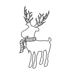 Monochrome contour of reindeer with big horns and vector