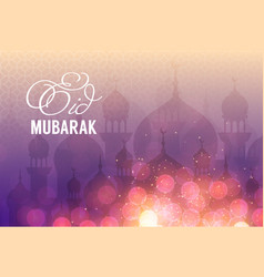 Mosques and lights night landscape background vector