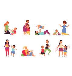 Mother playing with kids boys play child sitting vector