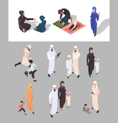 Muslim people isometric arab persons traditional vector