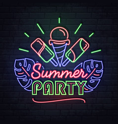 neon sign tropical party with ice cream vector image