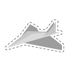 Paper plane toy entertain cut line vector