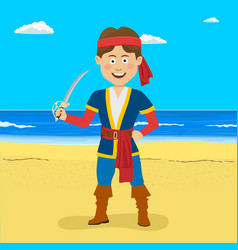 Pirate boy with sword at the tropical beach vector