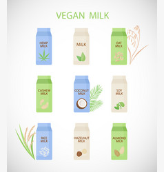 plant based milk flat icon set vector image