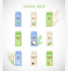 Plant based milk flat icon set vector