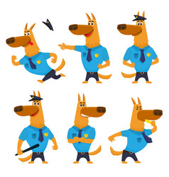 Police dog funny character in uniform with badge vector