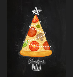 Poster christmas tree pizza chalk vector
