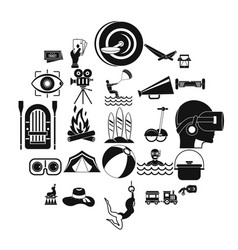 Rest in the city icons set simple style vector