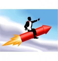 Rocket business man vector