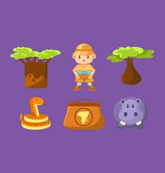 Safari symbols set cute african animals trees vector