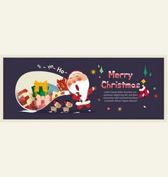 Santa clausreindeergift box merry christmas vector