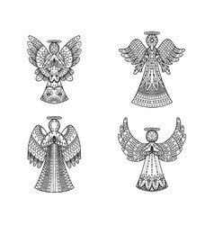 Set four freehand patterned angels vector