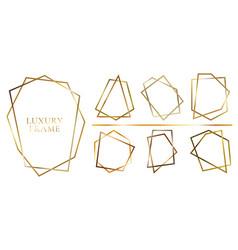 set modern shiny golden polygonal shapes on vector image