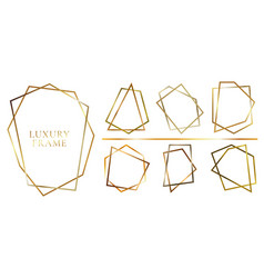 set modern shiny golden polygonal shapes vector image