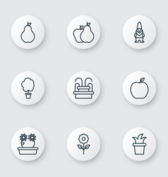 set of 9 gardening icons includes wood pot vector image