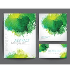 Set of Banners with Green Watercolor Splash vector