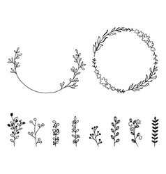 Set of doodle hand drawn design elements wreath vector