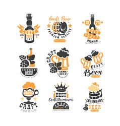set of original black and orange beer logo vector image
