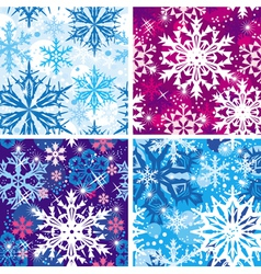 Set of seamless snowflakes pattern vector