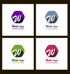 Set of w letter color logo with dot and shadow vector