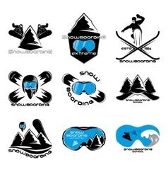 Set Snowboarding logo design template elements vector