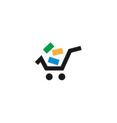 shopping cart retail logo design template vector image
