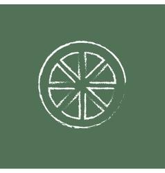 Slice of lemon icon drawn in chalk vector