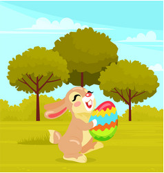 smiling and happy easter rabbit or easter bunny vector image