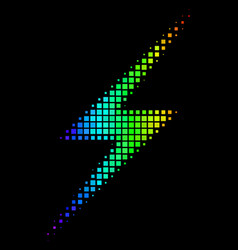 Spectral colored pixel lightning icon vector