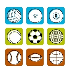 Sport balls on color background flat icons vector
