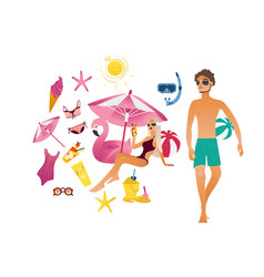 summer vacation elements set vector image