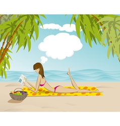 Sunbathing beauty vector image