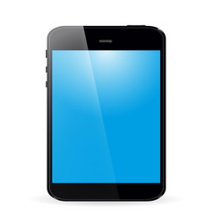 tablet with blue screen and shadow on white vector image
