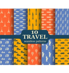 Ten travel seamless patterns vector