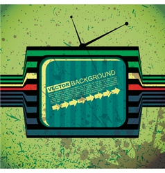 Textured retro tv on grunge background vector image