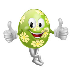 Thumbs up cartoon easter egg man vector