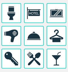 travel icons set with hanger toilet meal and vector image