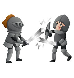 two knights in armours fighting vector image