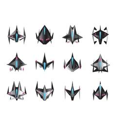 Various spaceships in flight vector