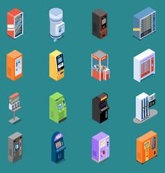 Vending machines isometric icons vector