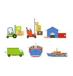 warehouse transportation and delivery set vector image