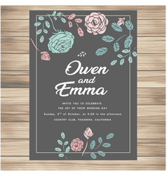 Wedding invitation with flowers dark green colour vector