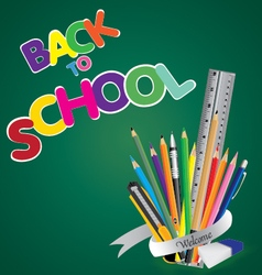 Welcome back to school board with object tool vector
