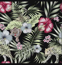 wild exotic jungle seamless black background vector image