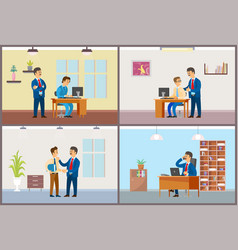 work in office daily routine boss and employee vector image
