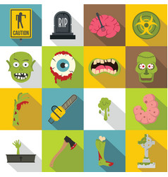 zombie icons set parts flat style vector image