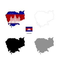 Cambodia country black silhouette and with flag on vector image vector image