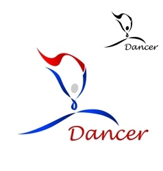 Dancer icon with abstract figure of curling lines vector image