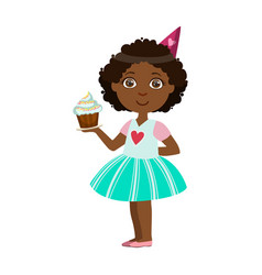 girl with cupcake part of kids at the birthday vector image vector image
