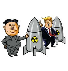 kim jong un vs donald trump cartoon vector image